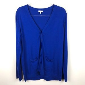 Talbots Blue Cardigan Sweater Large Petite LP